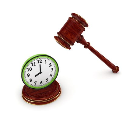 Wooden hammer and green watch Stock Photo - 15666669
