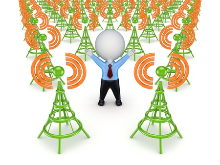 telecommunication equipment: Green antennas and 3d small person