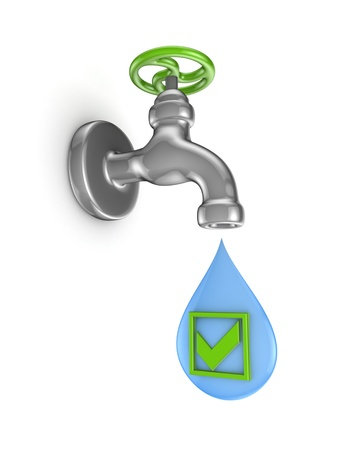 Iron tap and green tick mark  photo