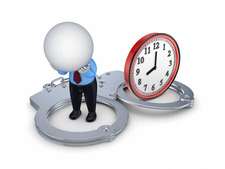 the past: 3d small person, handcuff and red watch