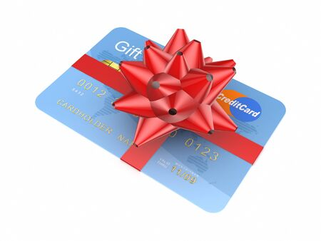 Credit card decorated with a red ribbon Stock Photo - 15667161