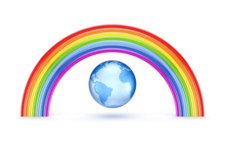 lesbians: Arco Iris y la Tierra Foto de archivo