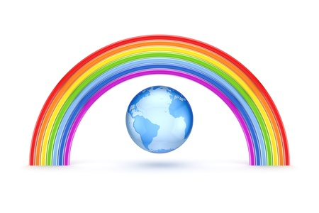 3d rainbow: Rainbow and Earth