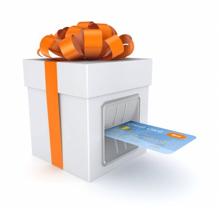 inserted: Credit card inserted in a gift box