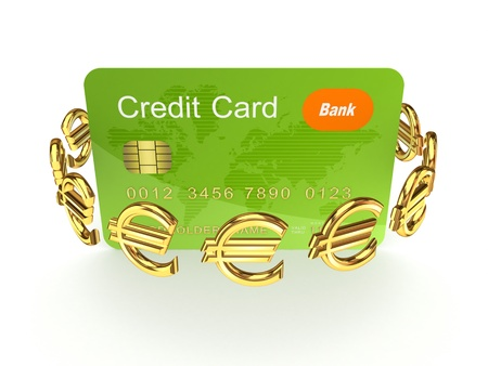 Credit card and euro signs Stock Photo - 17535261