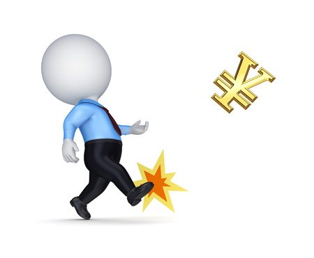 Small person kicking golden sign of yen Stock Photo - 17535179