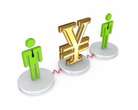 Small people with a yen symbol  photo