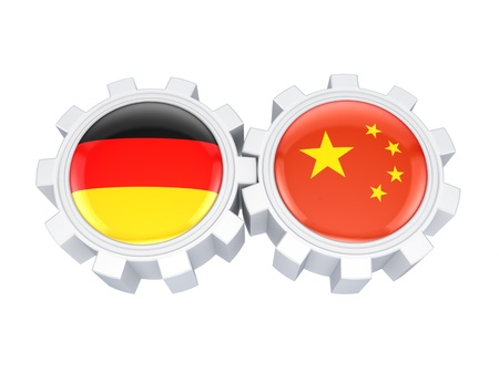 German and chinese flags on a gears