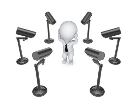 observation: Observation cameras around 3d small person  Stock Photo
