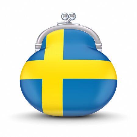 swedish: Swedish flag on a wallet  Stock Photo