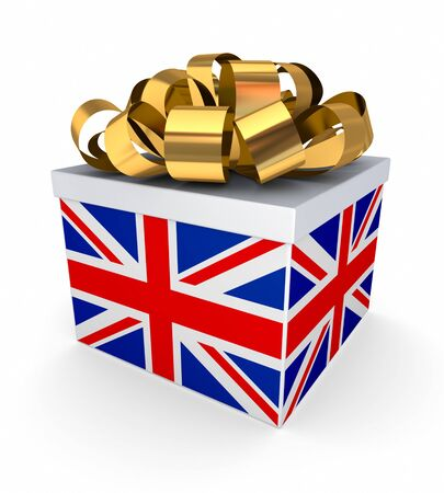 Giftbox with a british flag  photo