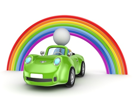 Small person in a car and rainbow  Stock Photo
