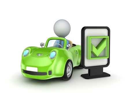 fast driving: Green car and lightbox with a tick mark