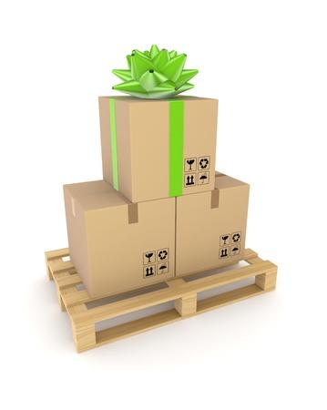 Carton box on a wooden pallet