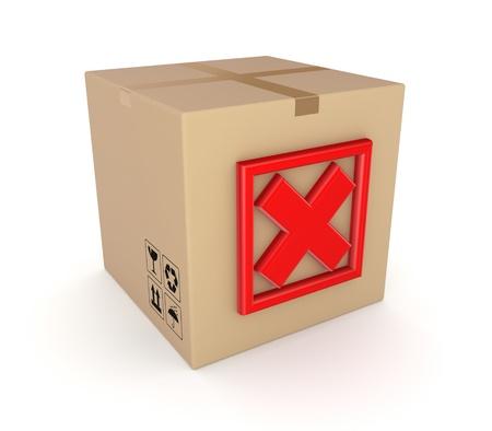 Red cross mark on carton box  Stock Photo - 17535627