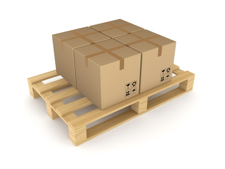 pallet truck: Carton boxes on pallet  Stock Photo