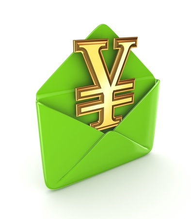 Opened envelope with yen symbol  photo