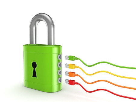 Colorful patchcords connected to green lock  Stock Photo - 17535468