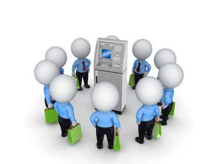 3d small people around ATM  photo