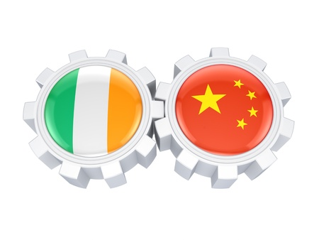 irish pride: Chinese and irish flags