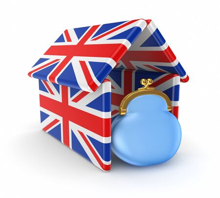 Blue purse under the roof made of british flags  Stock Photo - 17655265