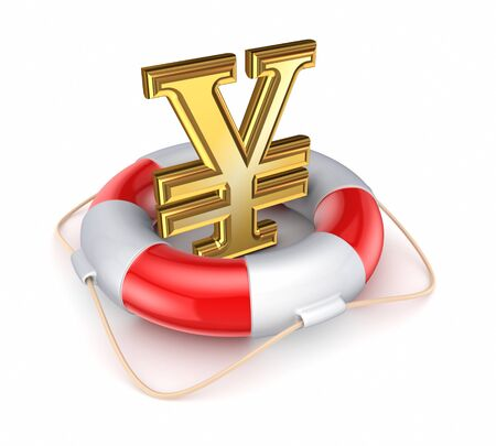 Yen symbol in a lifebuoy Stock Photo - 17655243