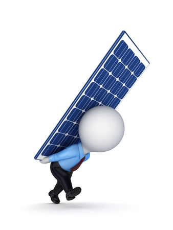 3d small person with a solar battery on the back  Stock Photo