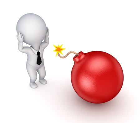 3d small person and red bomb Stock Photo - 17655240