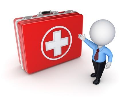 Medical Koffer und 3d kleine Person