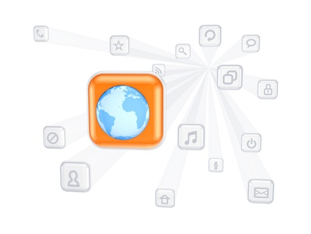 Earth icon between other icons Stock Photo - 17653227