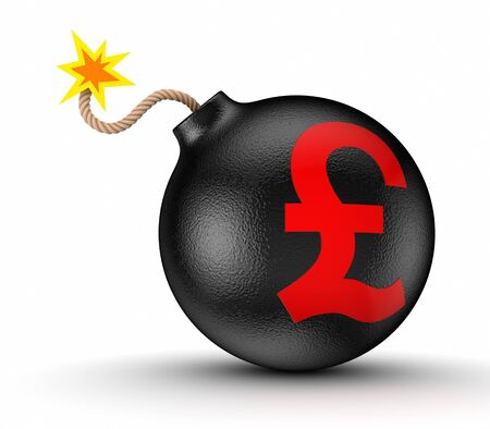 pound sterling: Pound sterling sign on a black bomb  Stock Photo