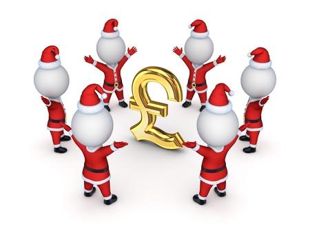 pound sterling: Santas around sign of pound sterling