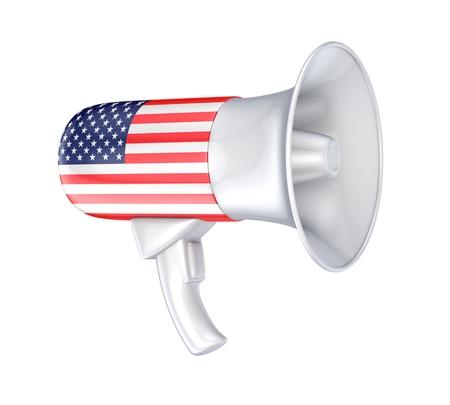 speaking trumpet: Loudspeaker with american flag