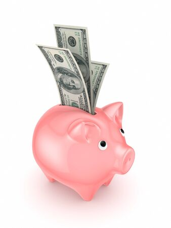 Pink piggy bank and dollars Stock Photo - 17816761