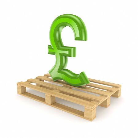 pound sterling: Pound sterling sign on pallet