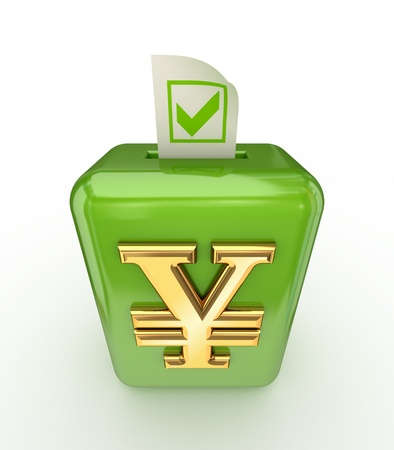 Yen symbol on postal box and tick mark on ticket Stock Photo - 17816771