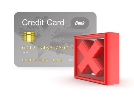fale: Credit card and red cross mark