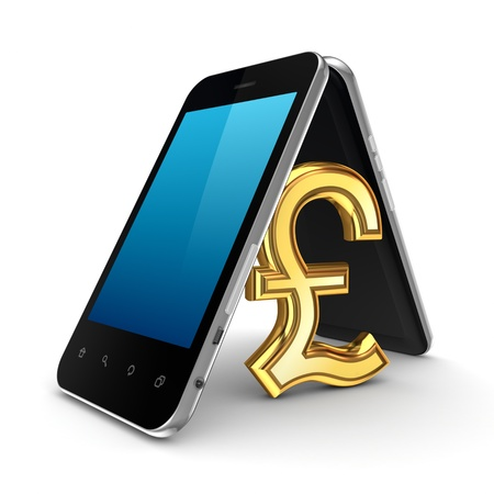 Pound sterling sign icon under mobile phones  photo