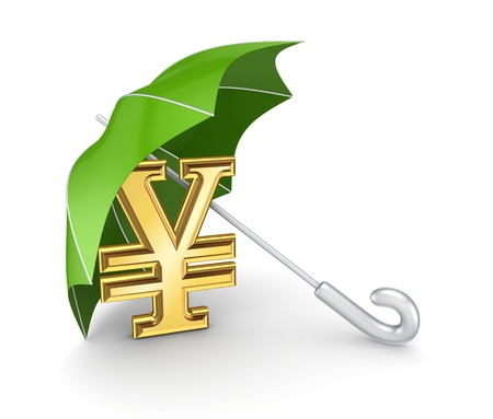 Yen symbol under umbrella Stock Photo - 17866768