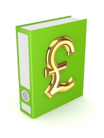pound sterling: Green folder with golden symbol of pound sterling