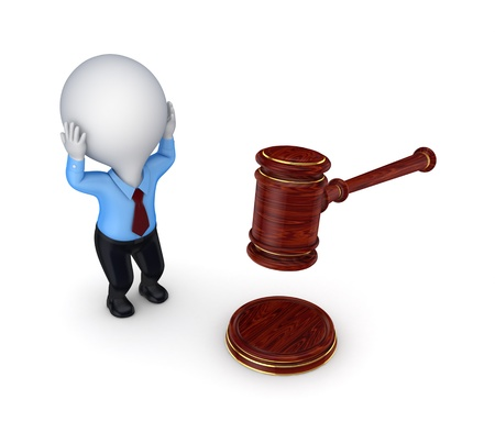 Stressed 3d small person and lawyer s hammer Stock Photo - 17866962