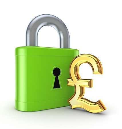 Vintage lock and pound sterling sign Stock Photo - 17867002