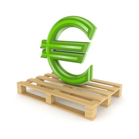 euro pallet: Euro sign on pallet