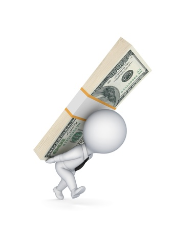 3d small person with a pack of dollars Stock Photo - 17867273