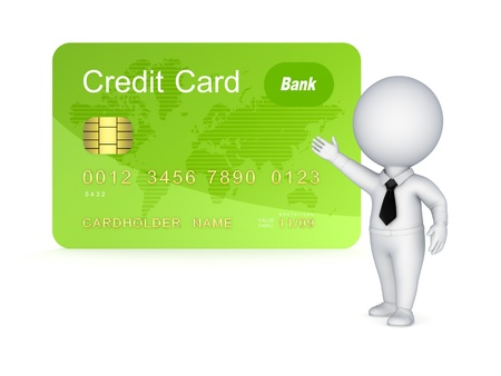 3d small person and credit card Stock Photo - 17867810