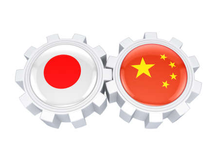 Japanese and chinese flags on a gears  photo