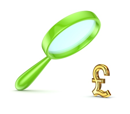 pound sterling: Green loupe and pound sterling symbol  Stock Photo