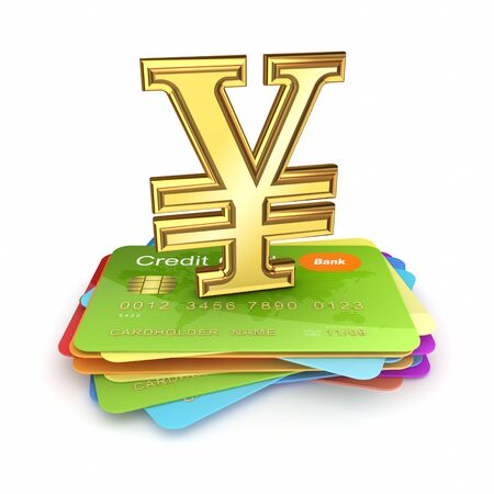 Stack of credit cards and yen symbol.Isolated on white background.3d rendered. Stock Photo - 17991477