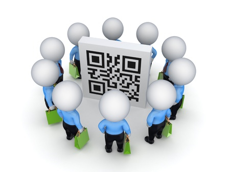 3d small people with green bags around QR code  photo
