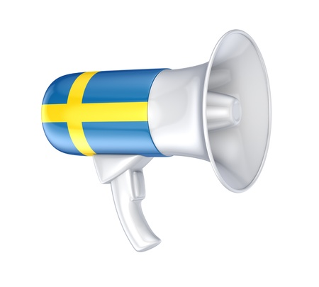 speaking trumpet: Loudspeaker with swedish flag